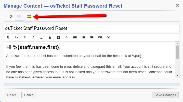 translate email from osTicket Staff Password Reset